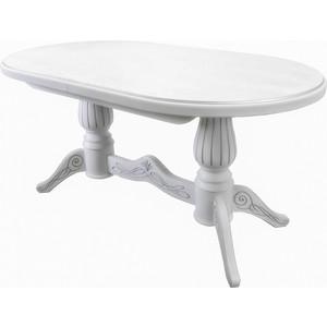 Стол обеденный Мебелик Рифей 01 раздвижной белый/серебро 160/200x90 фото