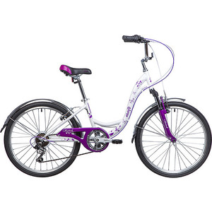 Велосипед 2-х колесный NOVATRACK 24 BUTTERFLY сталь.рама 13 белый-фиолетовый 24SH6V.BUTTERFLY.13VL9 велосипед novatrack girlish line 20 2016 бело фиолетовый