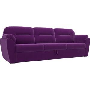 Прямой диван Лига Диванов Бостон велюр фиолетовый