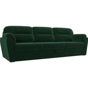 Прямой диван Лига Диванов Бостон велюр зеленый MR