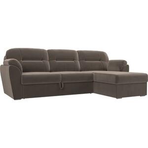 Угловой диван Лига Диванов Бостон велюр MR коричневый правый угол диван п образный лига диванов бостон велюр mr коричневый