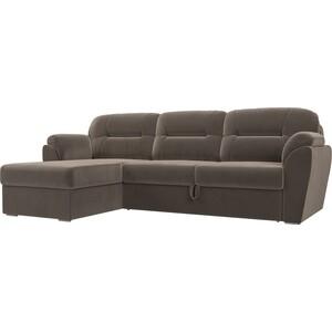 Угловой диван Лига Диванов Бостон велюр MR коричневый левый угол диван п образный лига диванов бостон велюр mr коричневый