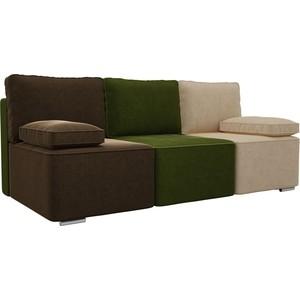 Прямой диван Лига Диванов Радуга микровельвет коричневый/зеленый/бежевый