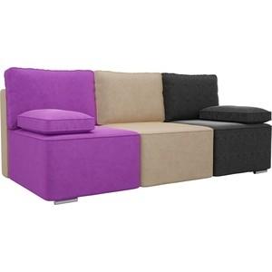 цена Прямой диван Лига Диванов Радуга микровельвет фиолетовый/бежевый/черный онлайн в 2017 году