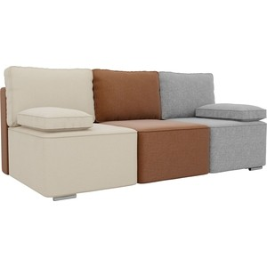 Прямой диван Лига Диванов Радуга рогожка бежевый/коричневый/серый