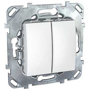 Выключатель двухклавишный Schneider Electric механизм СП UNICA 10А IP20 белый MGU5.211.18ZD цена и фото