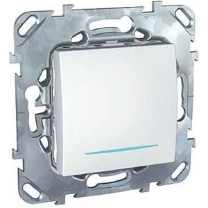 Выключатель одноклавишный Schneider Electric механизм СП UNICA 10А IP20 c инд. белый MGU5.201.18NZD проходной выключатель schneider electric w59 белый сп одноклавишный с рамкой vs616 156 18
