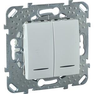 Выключатель двухклавишный Schneider Electric механизм СП UNICA 10А IP20 с индикацией белый MGU5.0101.18NZD проходной выключатель schneider electric w59 белый сп одноклавишный с рамкой vs616 156 18