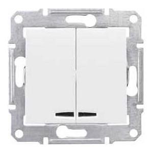 Выключатель двухклавишный Schneider Electric механизм СП Sedna 10А IP20 с син. индик. белый SDN0300321