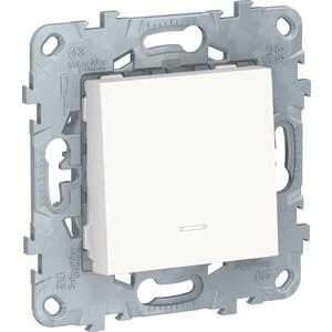 Выключатель одноклавишный Schneider Electric UNICA NEW с подсветкой (сх.1а) белый NU520118N проходной выключатель schneider electric w59 белый сп одноклавишный с рамкой vs616 156 18