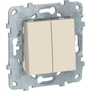 Переключатель двухклавишный Schneider Electric UNICA NEW 2х(сх.6) 10AX 250В бежевый NU521344 переключатель simon electric одноклавишный цвет бежевый 16а 250в