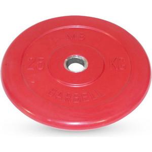 Диск Barbell обрезиненный d 31 мм цветной 25,0 кг (красный)