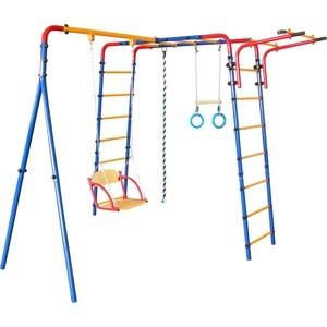 Детский комплекс c качелями Юный Атлет Уличный синий-желтый-красный детский спортивный комплекс юный атлет пристенный лайт красный