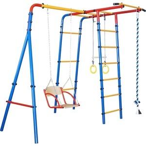 Детский спортивный комплекс Юный Атлет с качелями Уличный-Лайт синий-желтый-красный