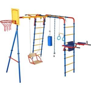 Детский спортивный комплекс Юный Атлет с качелями Уличный-Плюс синий-желтый-красный