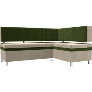 Кухонный уголок АртМебель Стайл микровельвет бежевый/зеленый правый угол