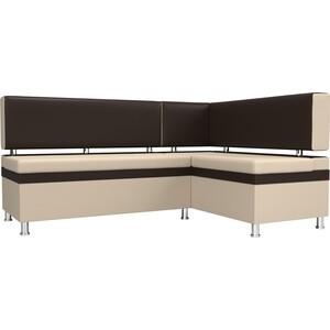 Кухонный уголок АртМебель Стайл экокожа бежевый/коричневый правый угол