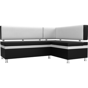 Кухонный уголок АртМебель Стайл экокожа черный/белый правый угол