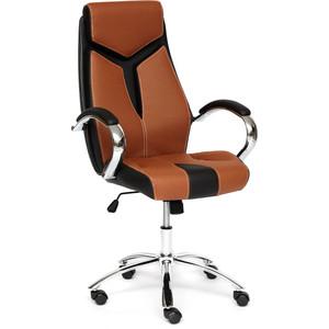 Кресло TetChair GLOSS хром, кож/зам, коричневый/черный 57