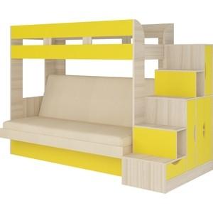 Кровать Атлант Карамель 75-01 Neo cream, ясень шимо светлый, желтый кровать атлант карамель 75 top gear 03 brown ясень шимо светлый ясень шимо темный