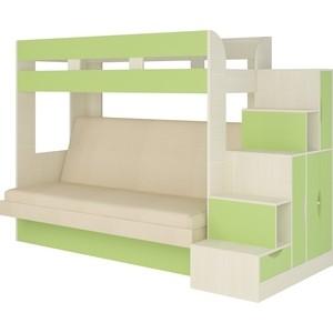 Кровать Атлант Карамель 75-01 Neo dimrose, бодега светлый, зеленый