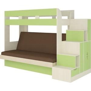 Кровать Атлант Карамель 75-01 Neo grafit, бодега светлый, зеленый