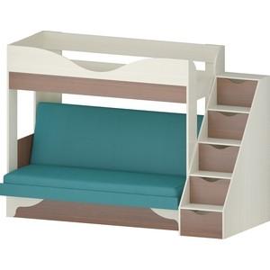 Кровать Атлант Латте 77-1 Neo Emerald, бодега светлый, орех донской