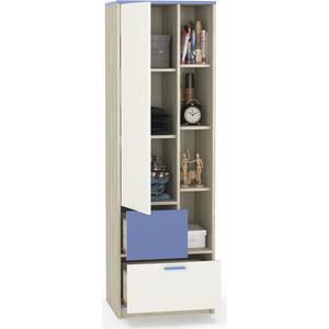 Шкаф-пенал Моби Гольф 2 белый матовый/голубой металл