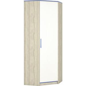 Шкаф угловой Моби Гольф 610 белый матовый/голубой металл