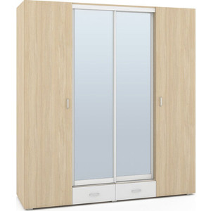 Шкаф 4-х дверный Моби Линда 312 дуб сонома/белый