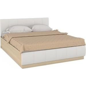 Кровать Моби Линда 303 160 п/м дуб сонома/к/з белый