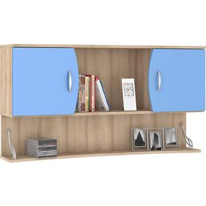 Шкаф навесной Моби Ника 415 бук песочный/капри синий