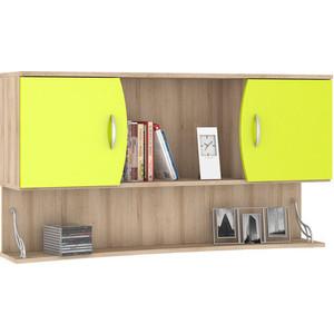 Шкаф навесной Моби Ника 415 бук песочный/лайм зеленый