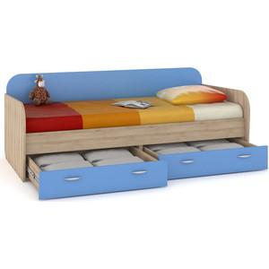 Кровать Моби Ника 424 бук песочный/капри синий