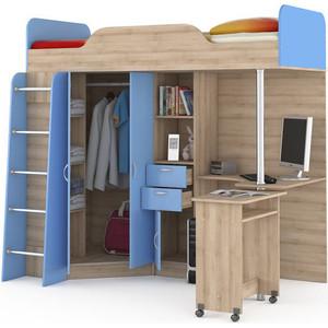 Кровать-чердак со столом Моби Ника 427 бук песочный/капри синий