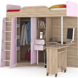 Кровать-чердак со столом Моби Ника 427 бук песочный/лаванда