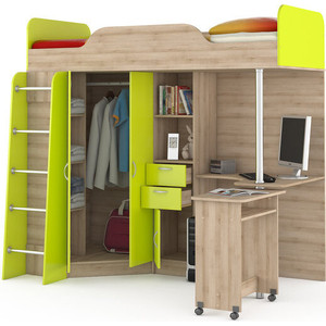 Кровать-чердак со столом Моби Ника 427 бук песочный/лайм зеленый