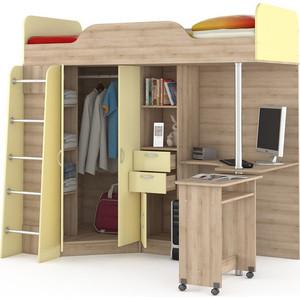 Кровать-чердак со столом Моби Ника 427 бук песочный/лимонный сорбет