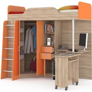 Кровать-чердак со столом Моби Ника 427 бук песочный/оранжевый