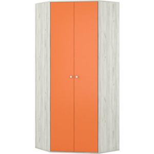 Шкаф угловой Моби Тетрис 1 328 дуб белый/оранжевый