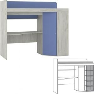 Кровать-чердак Моби Тетрис 1 345 дуб белый/капри синий кровать чердак первый мебельный тетрис 1 345 кровать чердак тетрис 1 353 столешница