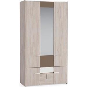 Шкаф для одежды Моби Элен 300 ясень шимо светлый/латте/белый глянец фото