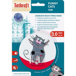 Крючок Tatkraft FUNNY CATS TOM адгезивный, диаметр 8 см, до 3 кг
