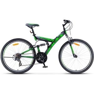 Велосипед Stels Focus V 26 18 sp V030 (2018) 18 Черный/зеленый велосипед stels miss 6000 v 26 v030 2018 рама 15 морская волна оранжевый