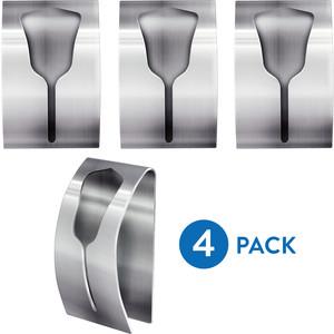 Вешалка Tatkraft IDA для полотенец, самоклеющаяся вешалка, 4 шт, 2,5x6x5,8 см, выдерживает до 5 кг, нержавеющая сталь