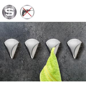 Вешалка Tatkraft EVA для полотенец, самоклеющаяся, 4 шт, 7x9x2,5 см, выдерживает до 2 кг, нержавеющая сталь