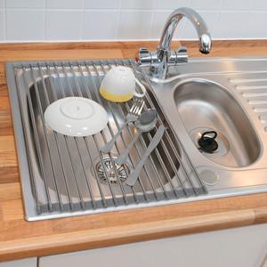 Сушилка Tatkraft SPIN на мойку складная, 52x34x0,8 см, можно мыть в посудомоечной машине, нержавеющая сталь, силикон