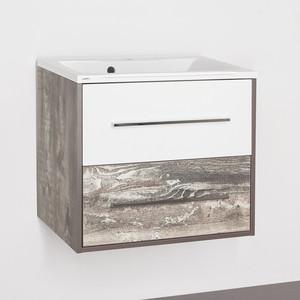 Тумба с раковиной Style line Экзотик 65 бетон экзотик, белый глянец (2000949095714, 2000949230009) цены