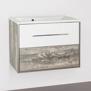 Тумба с раковиной Style line Экзотик 75 бетон экзотик, белый глянец (2000949095721, 2000949230023)