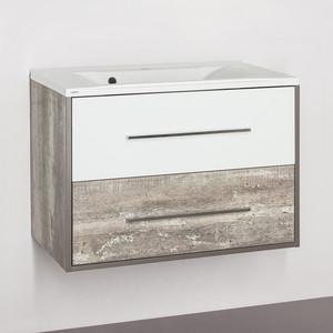 Тумба с раковиной Style line Экзотик 80 бетон экзотик, белый глянец (2000949095738, 2000949230030)